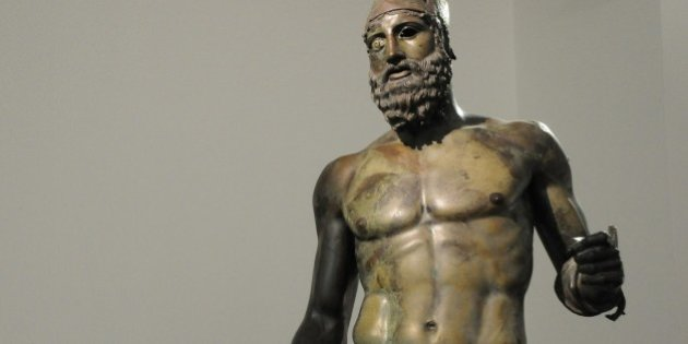 Italy, Calabria, Reggio Calabria, the Riace Bronze Statues at the Museo Nazionale