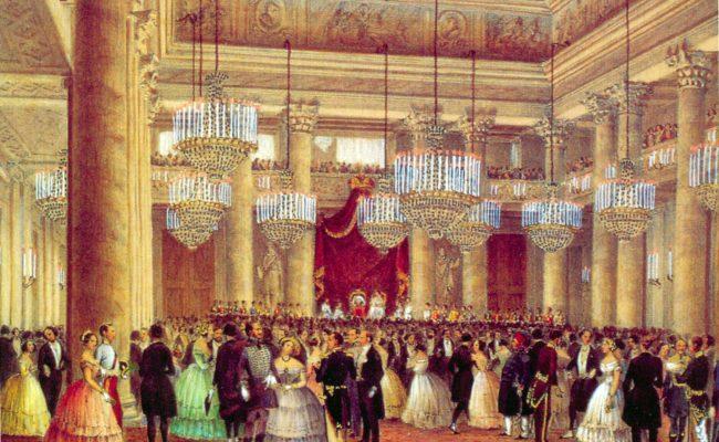 Festa da ballo nella Sala della Borsa,1844, Litografia,